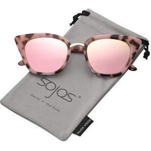 6ea5a7f4c9 En primer lugar hemos elegido unas gafas de sol espejo ideales para mujeres  con un moderno diseño de ojos de gato y detalles de leopardo y tonos rosas.